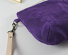 Purple Waxed Canvas Purse, Clutch Wristlet, Purse, Leather KeyChain, Close Up | Madi May Design