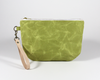 Green Waxed Canvas Purse, Clutch Wristlet, Front | Madi May Design