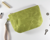 Green Waxed Canvas Purse, Clutch Wristlet, Handbag, Top View | Madi May Design