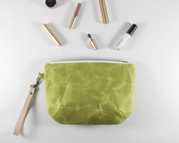 Green Waxed Canvas Purse with Accessories | Madi May Design