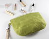 Green Waxed Canvas Purse, Clutch Wristlet, Handbag, Angled View | Madi May Design