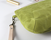 Green Waxed Canvas Purse, Clutch Wristlet, Purse, Leather KeyChain, Close Up | Madi May Design