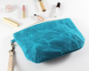 Blue Waxed Canvas Purse, Clutch Wristlet, Handbag, Angled View | Madi May Design