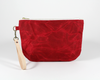 Red Waxed Canvas Purse, Clutch Wristlet, Front | Madi May Design
