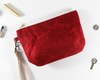 Red Waxed Canvas Purse, Clutch Wristlet, Handbag, Top View | Madi May Design