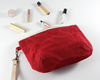 Red Waxed Canvas Purse, Clutch Wristlet, Handbag, Angled View | Madi May Design