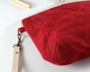 Red Waxed Canvas Purse, Clutch Wristlet, Purse, Leather KeyChain, Close Up | Madi May Design