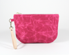Pink Waxed Canvas Purse, Clutch Wristlet, Front | Madi May Design