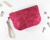 Pink Waxed Canvas Purse, Clutch Wristlet, Handbag, Top View | Madi May Design
