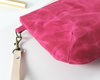 Pink Waxed Canvas Purse, Clutch Wristlet, Purse, Leather KeyChain, Close Up | Madi May Design