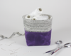 Purple Waxed Canvas Mini Fabric Basket, Desk Accessories, Organizer | Madi May Design