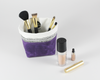 Purple Waxed Canvas Mini Fabric Basket, Makeup Brush Holder | Madi May Design