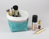 Blue Waxed Canvas Mini Fabric Basket, Makeup Brush Holder | Madi May Design