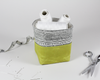 Green Waxed Canvas Mini Fabric Basket, Desk Accessories, Organizer | Madi May Design