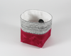 Pink Waxed Canvas Mini Fabric Basket, Side View | Madi May Design