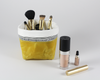 Yellow Waxed Canvas Mini Fabric Basket, Makeup Brush Holder | Madi May Design
