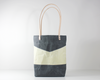 Grey Waxed Canvas Tote Bag, Front View | Madi May Design