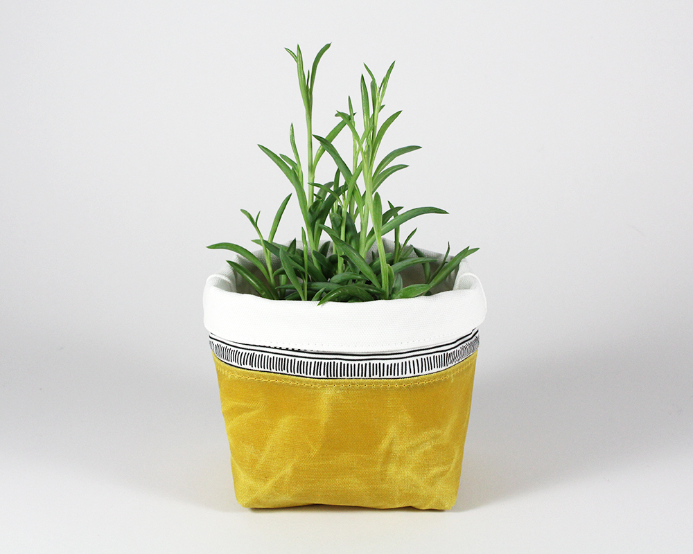 Yellow Waxed Canvas Mini Fabric Basket, Plant Basket | Madi May Design