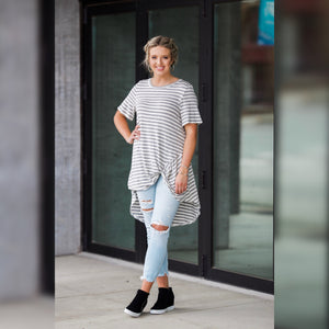 Grey Knot Top