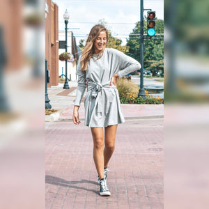 Grey Tie Waist Dress