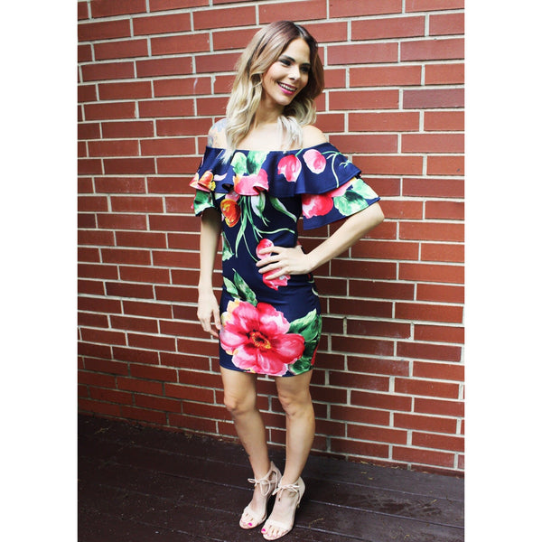 Floral Off the Shoulder Navy Dress