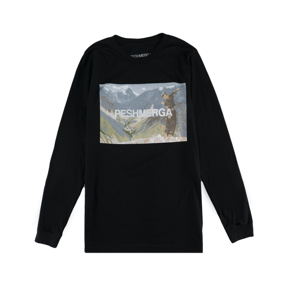 NO FRIENDS BUT THE MOUNTAINS Long Sleeve Shirt (Black)