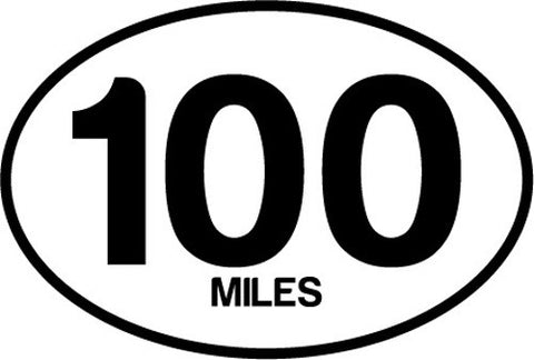 100 Miles Oval Decal