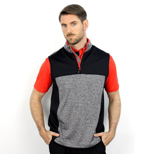 Walrus Percy 1/4 Zip Sleeveless Golf Pullover Black