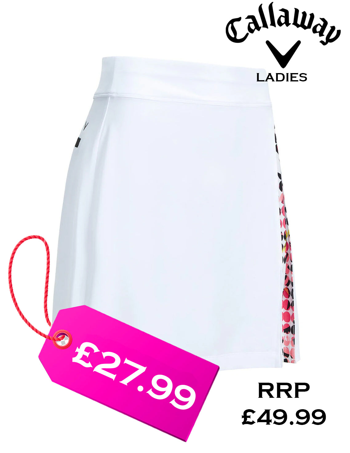 Callaway Ladies Pull-on Skort with Printed Pleat in Brilliant White