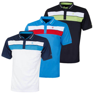 Island Green Mens Golf Ribbed 2 Stripe Polo Shirt IGTS1892