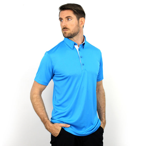 Walrus Henry Solid Mens Golf Polo Shirt Hawaii Blue