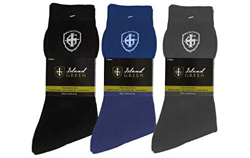 Island Green Cotton Mens Golf Crew Socks. Packs of 3. FREE NIKE SHOE BAG