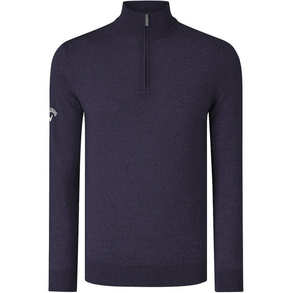 New Callaway Golf Tour Ribbed Top 1/4 Zip 100% Merino Sweater Thermal 7076