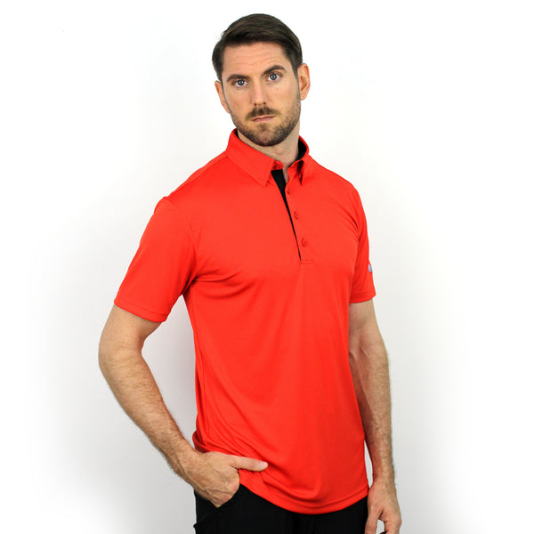 Walrus Henry Solid Mens Golf Polo Shirt Fiesta Red