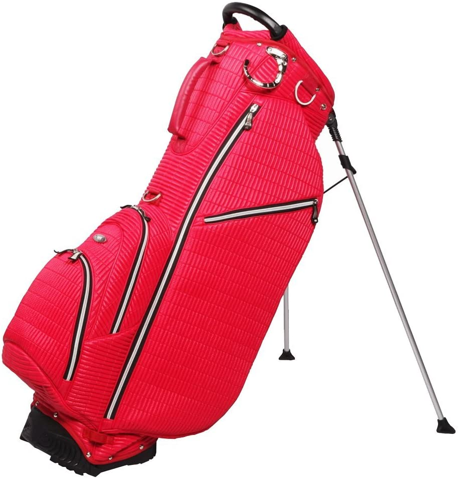 New Ouul Ribbed Golf Stand Carry Bag - Red Single Strap 6 pockets