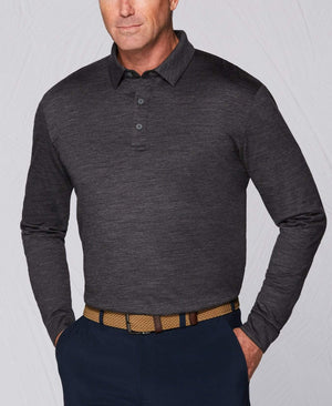 New Tour Authentic Heather Polo Long Sleeve Shirt