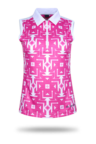ELEVEN Ladies Golf Sleeveless Arrow Print Polo