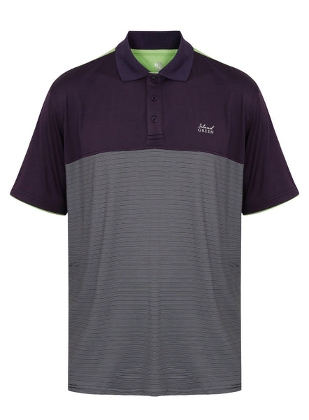 Island Green Mens Mini Stripe Golf Polo Shirt - IGTS1647