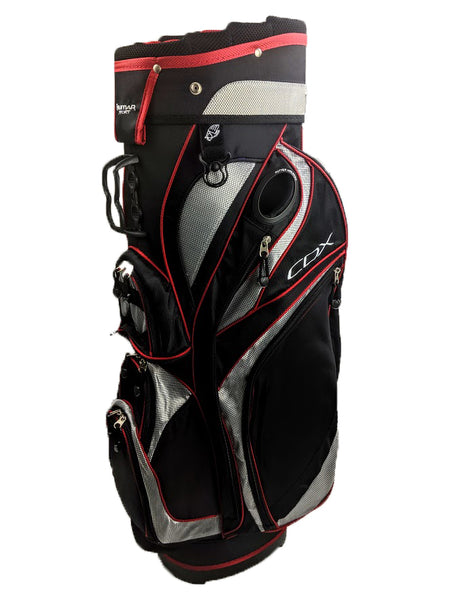 Deluxe Orlimar Tour CDX Cart Trolley Golf Bag Black-Red-Silver 13 Way Divider