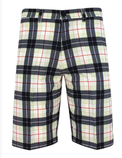 2019 Sub70 Golf Tour Tech Plaid Check Shorts UPF 30+ Black-Green-Red