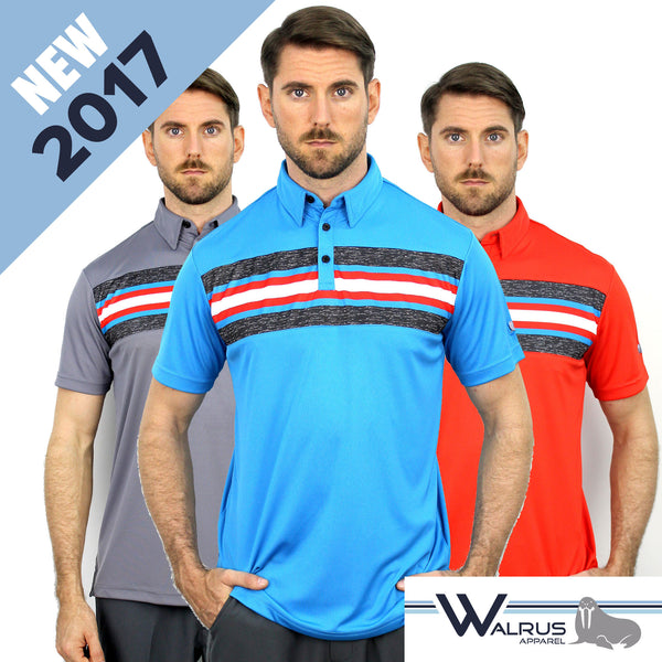 New 2017 Walrus Benjamin Chest Block Stripe Men's Golf Polo Shirt - 3 Great Colours
