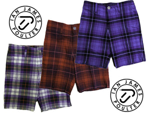 Junior Kids Tour Ian Poulter Golf Tartan Check Shorts IJP Design Lightweight