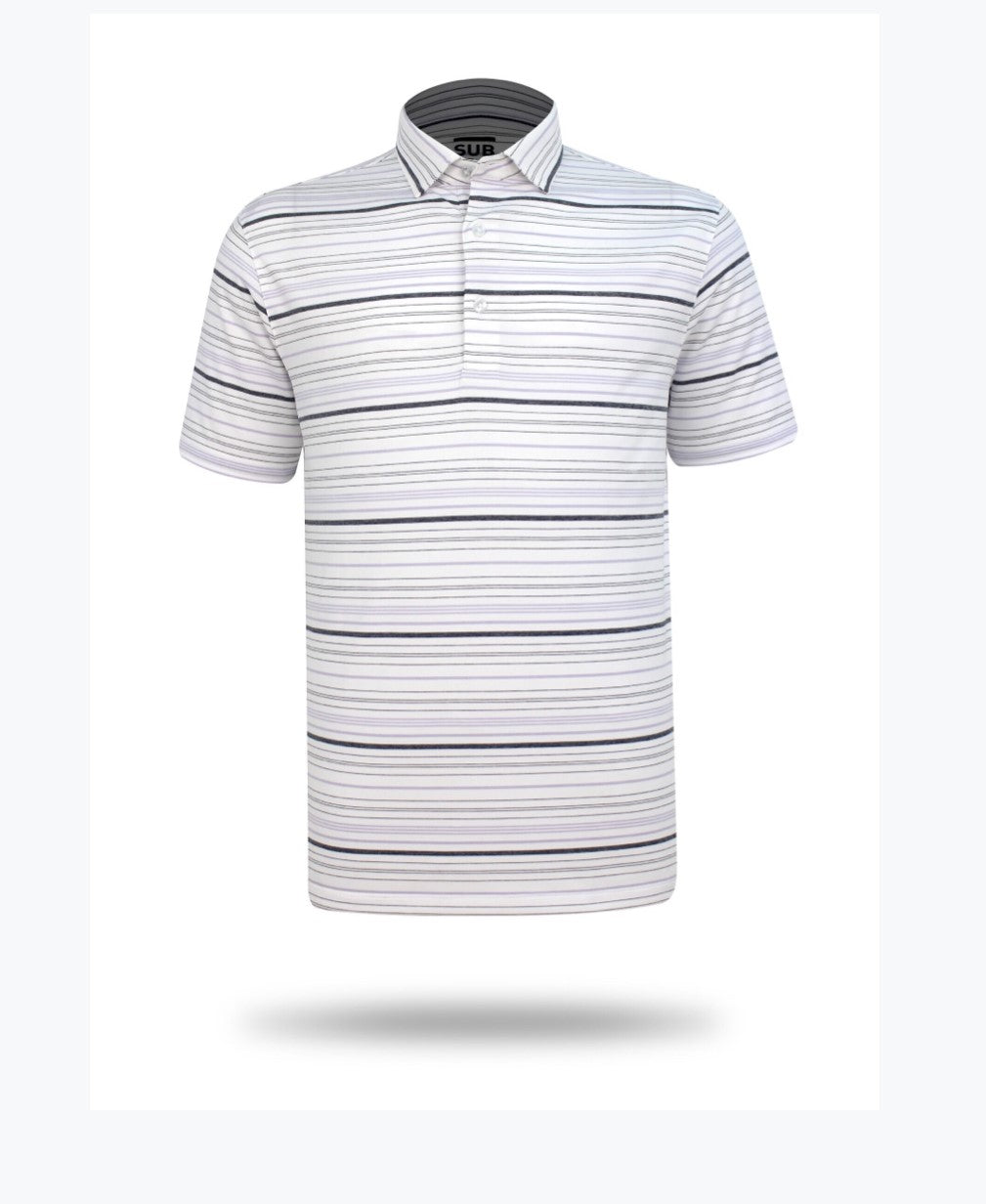 Sub 70 Tour Classic Polo Stripe #14 White/Mauve/Grey