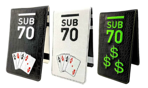 Limited Edition Sub70 Tour Golf Flip Scorecard Yardage Book Holder 4 Of A Kind FREE HOLDALL