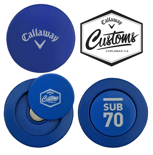 New Callaway Customs Golf Tour Metal Coin Issue Ball Marker Sub70 Blue Magnetic