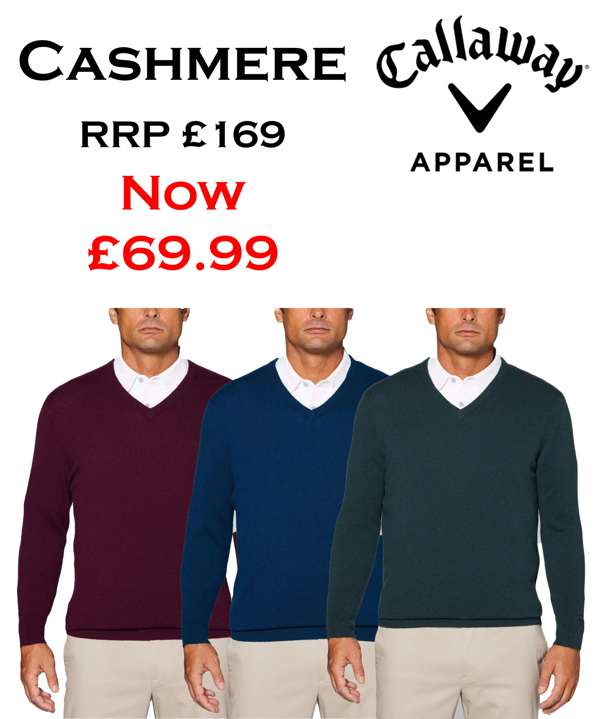 New Callaway Golf Tour Authentic Cashmere V-Neck Sweater