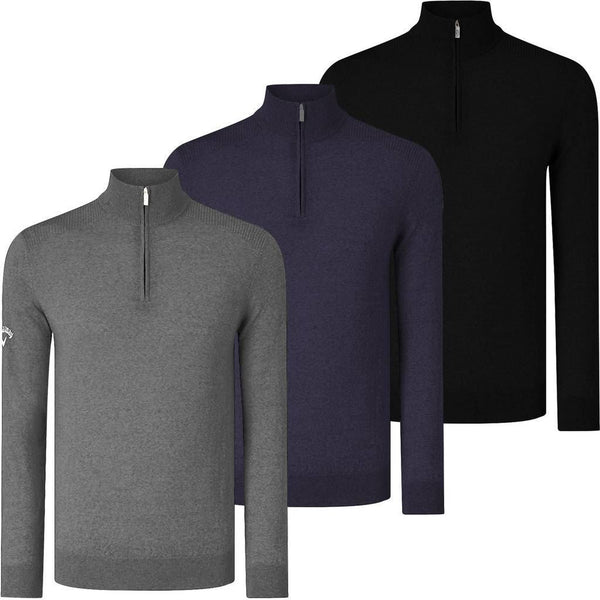 New Callaway Golf Tour Ribbed Top 1/4 Zip 100% Merino Sweater Thermal