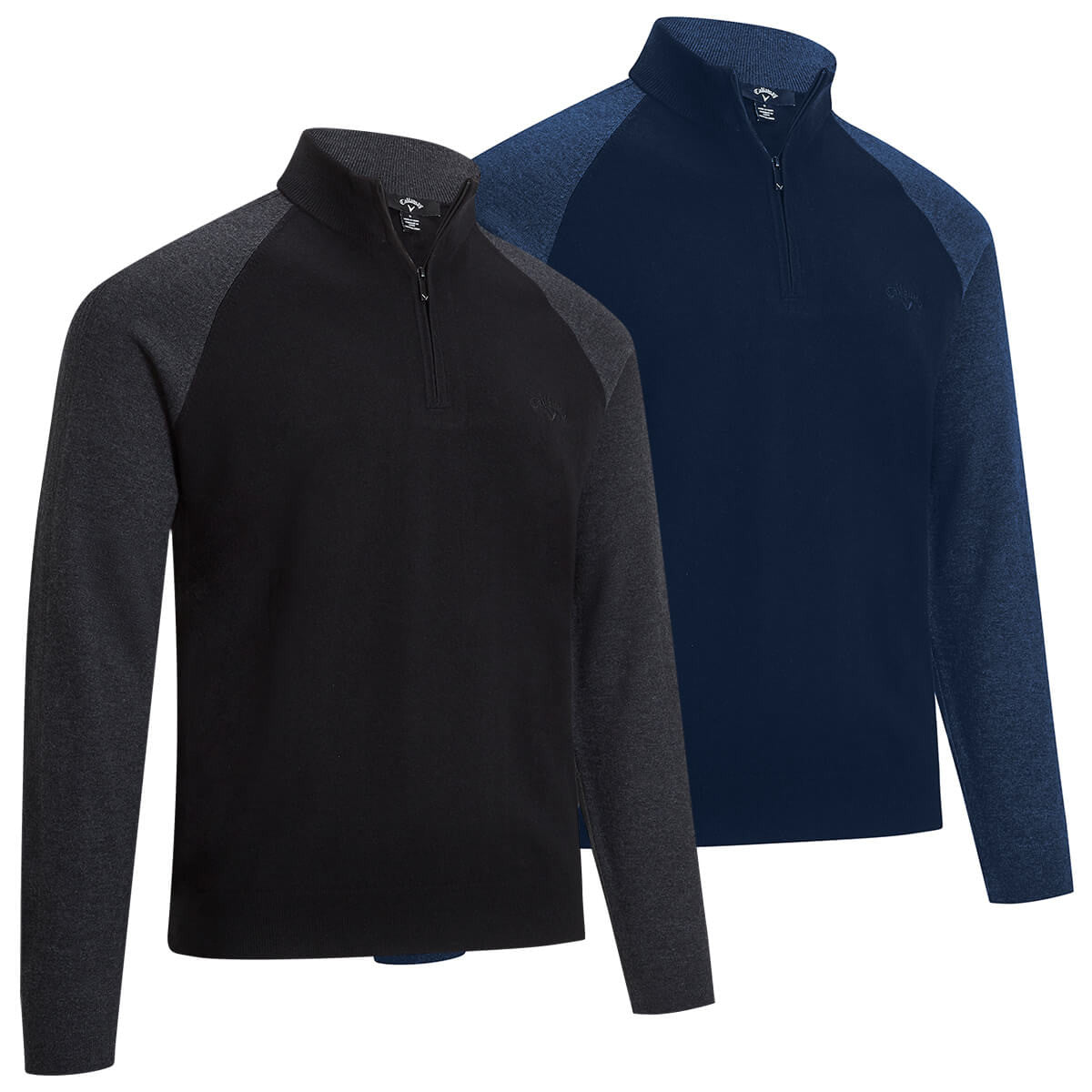 Callaway Golf Mens Raglan 1/4 Zip Merino Wool Thermal Easy Care Sweater