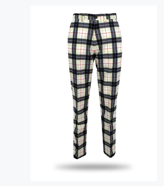 2019 Sub70 Golf Tour Tech Plaid Check Trousers UPF 30+ Black-Green-Red UF Leg