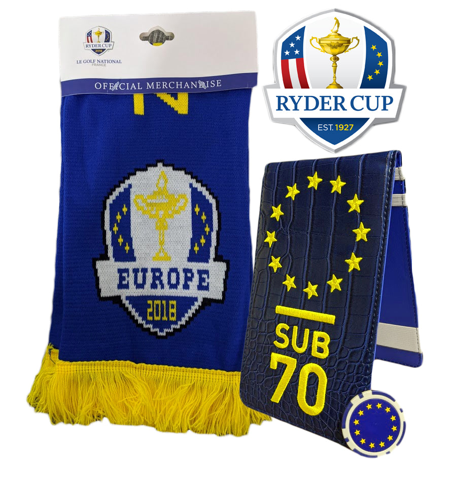 Ryder Cup Deal 2018 Official Scarf, Sub70 Tour Scorecard holder & Poker Chip